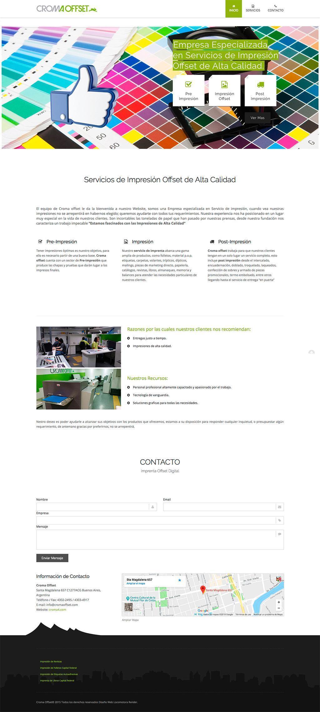 diseño sitio web imprenta croma offset